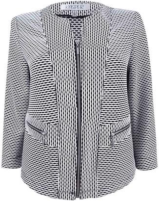 Kasper Women's Plus Size Textured Knit Jacquard Flyaway Jacket