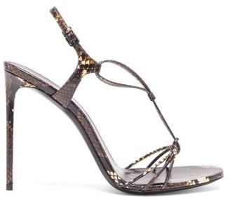 Saint Laurent Robin Snakeskin Sandals - Brown Multi