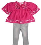 Jessica Simpson 2pc Peasant Blouse And Jean Set.