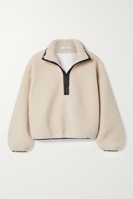 Tibi Faux Leather-trimmed Fleece And Quilted Cotton-poplin Jacket - Beige