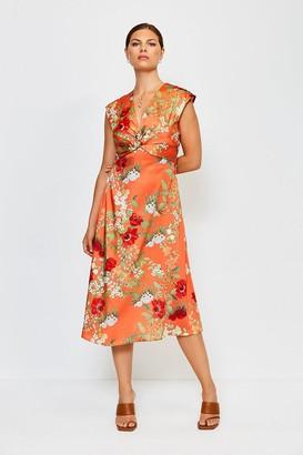 Karen Millen Printed Twist Sleeveless Midi Dress