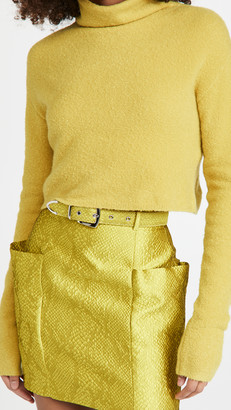 Sally LaPointe Wool Cashmere Boucle Cropped Turtleneck