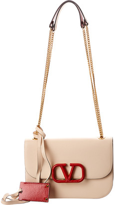 Valentino Vlogo Leather Shoulder Bag