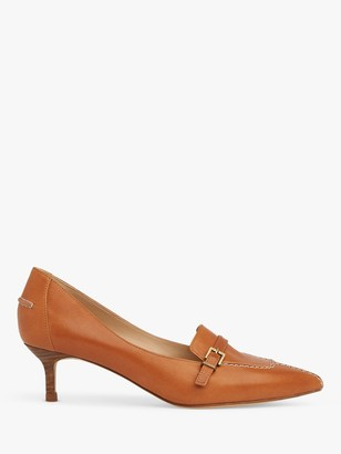 LK Bennett Farah Kitten Heel Leather Court Shoes