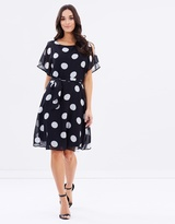 Wallis Spot Frill Fit-and-Flare Dress