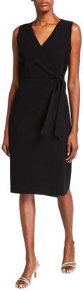 Lafayette 148 New York Pammie Sleeveless Finesse Crepe Wrap Dress