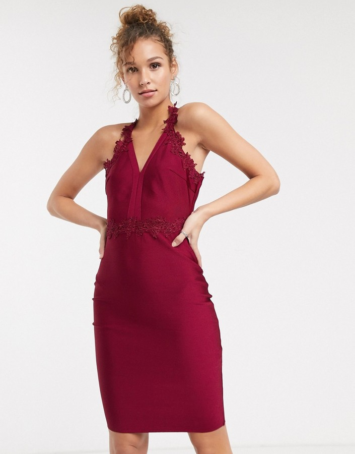 Lipsy pencil dress with crochet lace trim in berry