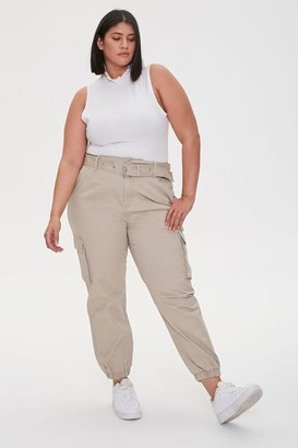 Forever 21 Plus Size Twill Cargo Joggers