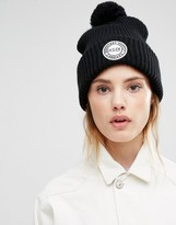 Herschel Knitted Pom Beanie in Black