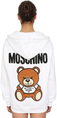 Moschino Logo Zip-up Cotton Sweatshirt Hoodie