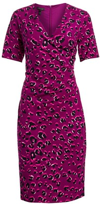 Escada Leopard-Print Jersey Faux Wrap Dress