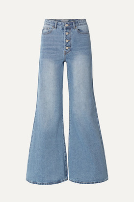 Georgia Alice Cropped High-rise Flared Jeans - Light denim