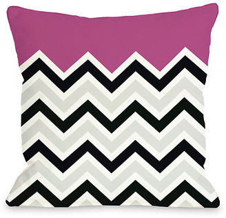 One Bella Casa Fuchsia Chevron Decorative Pillow