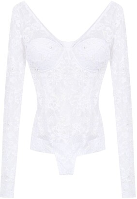 AMIR SLAMA lace long sleeved swimsuit