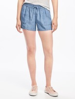 "Old Navy Mid-Rise Soft Tencel® Shorts for Women (4"")"