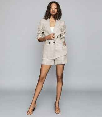 Reiss Lula - Checked Linen-blend Blazer in White & Grey