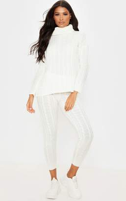 PrettyLittleThing Cream Cable Knit Roll Neck And Legging Set