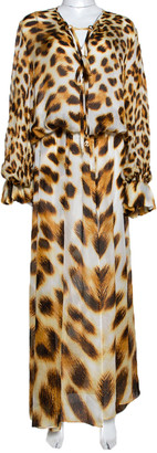 Roberto Cavalli Brown Animal Print Silk Maxi Dress L