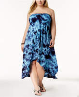 Raviya Plus Size Tie-Dyed Waterfall Cover-Up Dress Women's Swimsuit