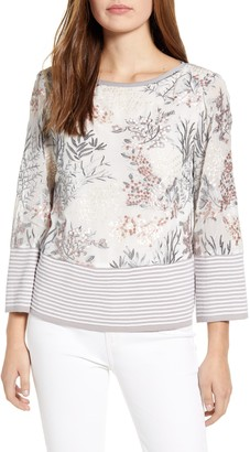 Ming Wang Floral Embroidery Knit Top