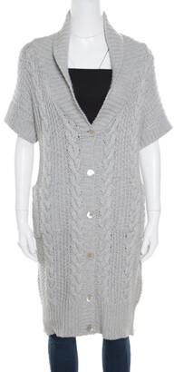 Paul And Joe Paul & Joe Grey Chunky Knit Short Sleeve Long Cardigan L