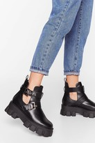 Nasty Gal Stand Cut-Out Faux Leather Cleated Boots