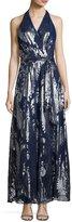 Chetta B Belted Paisley-Print Maxi Dress, Blue/Silver