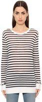 Alexander Wang Striped Rayon Linen Blend Jersey T-Shirt