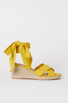 H&M Wedge-heeled Sandals - Yellow