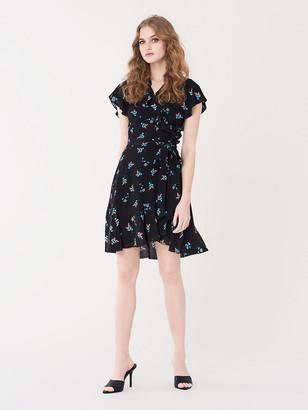 Diane von Furstenberg Carmelita Ruffled Crepe Mini Wrap Dress