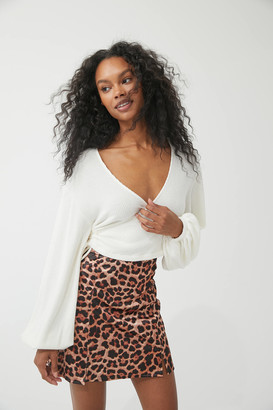 Urban Outfitters Printed Satin Notched Mini Skirt