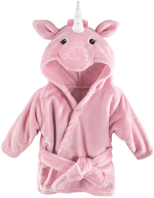Hudson Baby Girls' Bath Robes Pink - Pink Unicorn Hooded Fleece Robe - Newborn