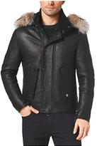 Michael Kors Fur-Trimmed Pebbled-Leather Coat