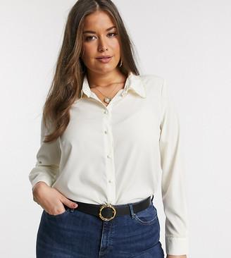 Vero Moda Curve lace detail collar blouse in cream