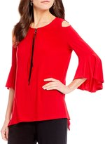 IC Collection Cold-Shoulder Zipper Front Top