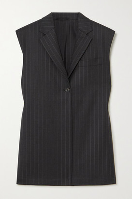 WRIGHT LE CHAPELAIN Pinstriped Wool Vest - Charcoal