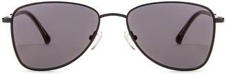 Dries Van Noten Small Metal Aviator Sunglasses in Black & Grey | FWRD