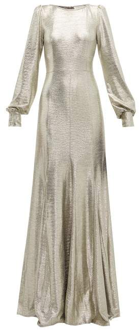 Goat Illusion Balloon Sleeve Foiled Jersey Dress - Womens - Silver