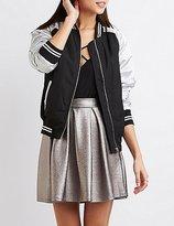 Charlotte Russe Varsity Stripe Colorblock Bomber Jacket