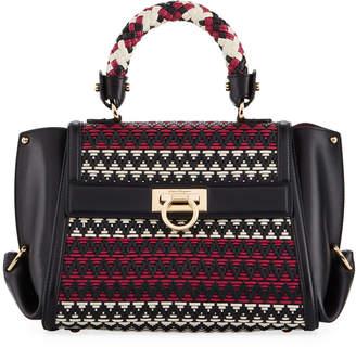 Salvatore Ferragamo Sofia Small Woven Leather Satchel Bag