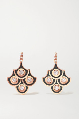 Selim Mouzannar Mina 18-karat Rose Gold, Enamel And Diamond Earrings - one size