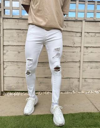 Bershka Join Life skinny jeans in white