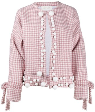 Loulou Pink Houndstooth Jacket