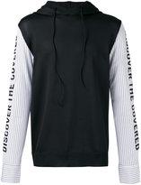 Juun.J striped sleeves hoody - men - Cotton/Polyester - 48