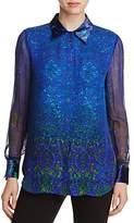 Elie Tahari Martha Paisley Print Velvet Trim Silk Blouse