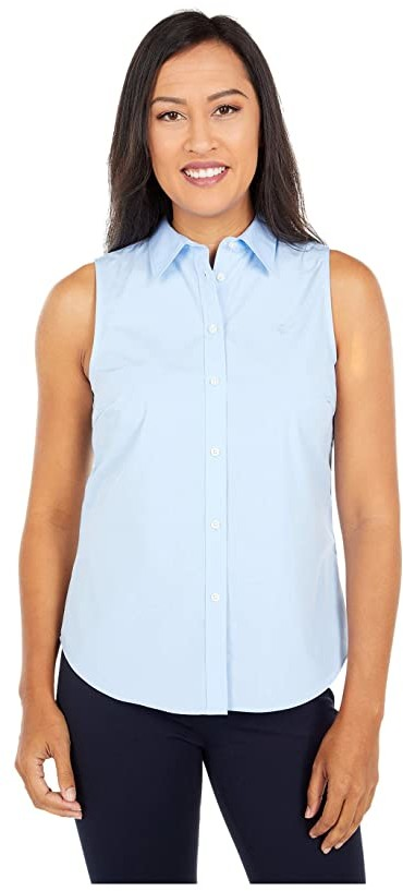 Lauren Ralph Lauren Petite Easy Care Cotton Blend Shirt (Blue) Women's Clothing