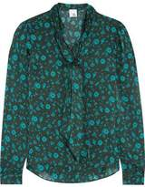 Iris and Ink Jennifer Pussy-Bow Printed Silk Blouse