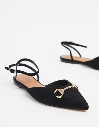 ASOS DESIGN Laugh pointed ballet flats in black