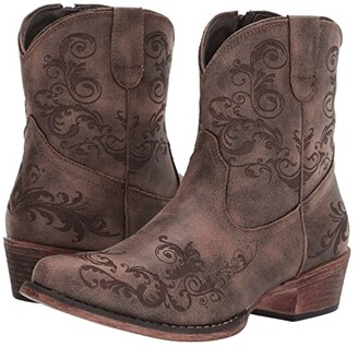 Roper Short Stuff (Vintage Brown Faux Leather) Cowboy Boots