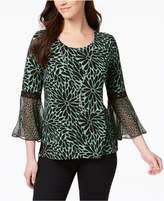 JM Collection Petite Bell-Sleeve Print Top, Created for Macy's